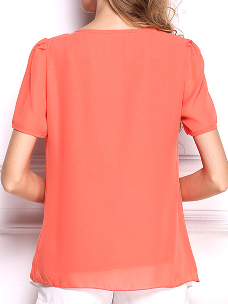 Casual Women Short Sleeve Pure Color O-neck Chiffon Blouses