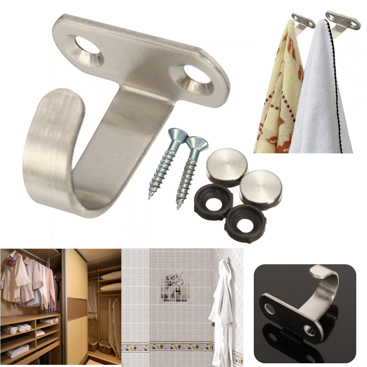 Buy Stainless Steel Robe Hook Bathroom Wardrobe Wall Mounted Clothes Sundries Hanger