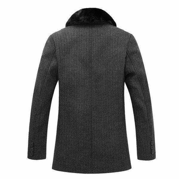 Mens Duffle Coats Winter Big Wool Parkas Detachable Fur Collar