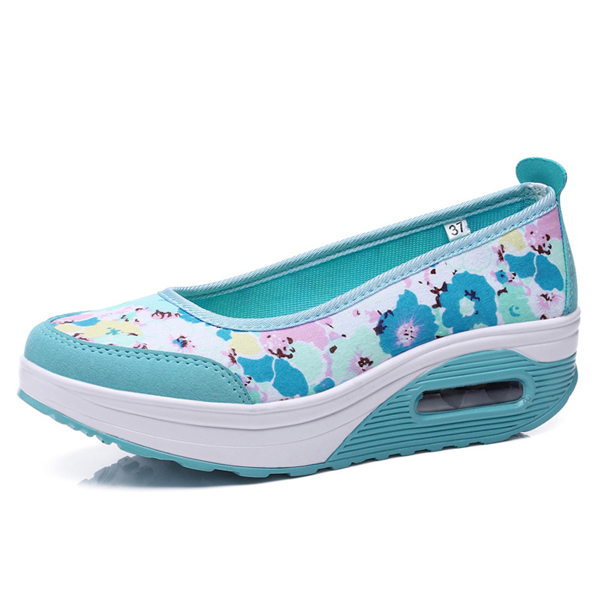 Flower Printing Rocker Sole Shoes Breathable Slip On Health Shoes
