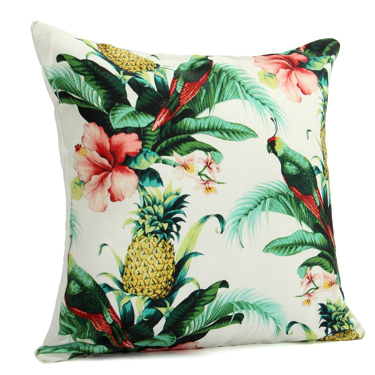 How To Wash Throw Pillow Cases : 45x45cm Pineapple and Parrot Canvas Chair Cushion Cover Throw Pillow Case Home Sofa Decor Alex NLD