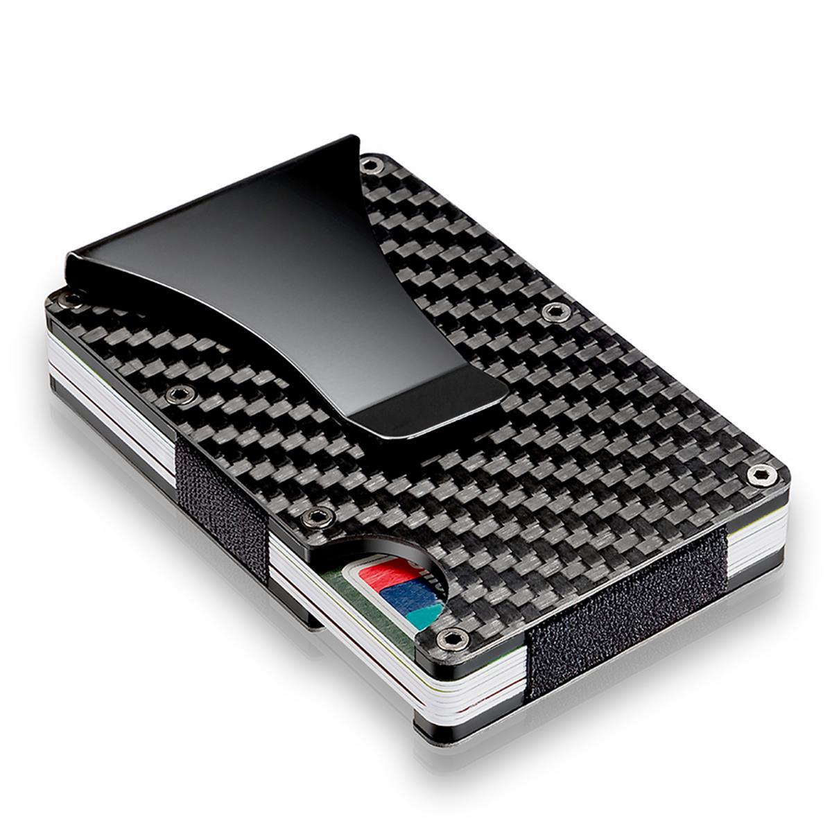 Slim Carbon Fiber Credit Card Holder RFID Blocking Metal Wallet Money Clip Case 35