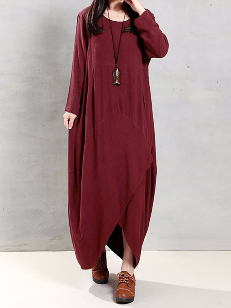 Vintage Women O Neck Long Sleeve Solid Loose Cotton Dress at Banggood