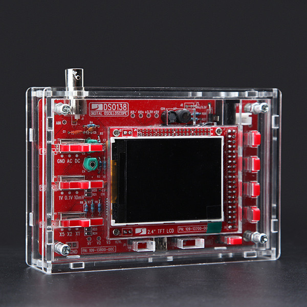 DSO138 DIY Digital Oscilloscope Kit 13804K Version With Transparent Acrylic Housing hantek dso 2250 usb 2 0 100mhz 2 channel digital oscilloscope