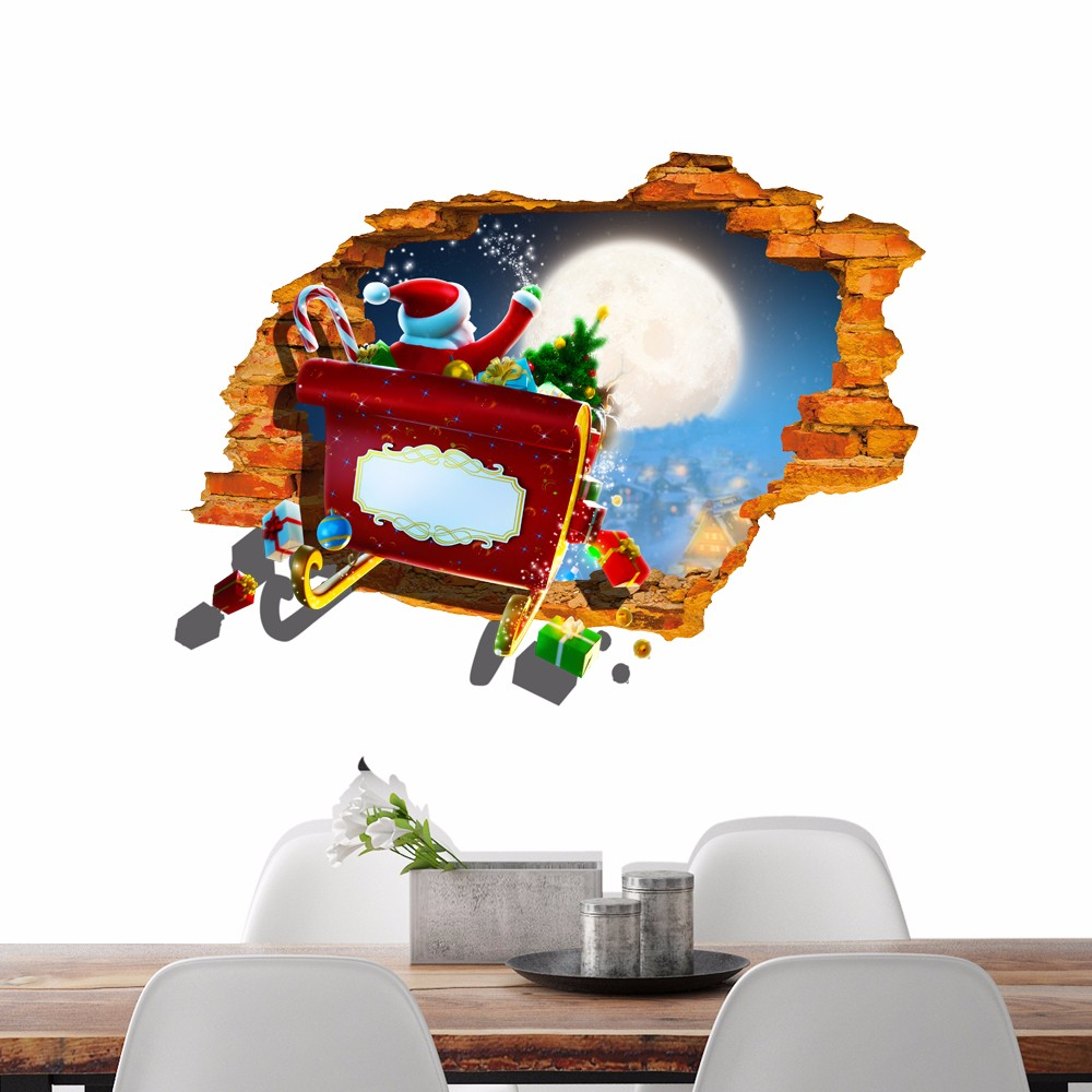 Pag 3d christmas santa claus car sticker wall decals home for Decoration hole