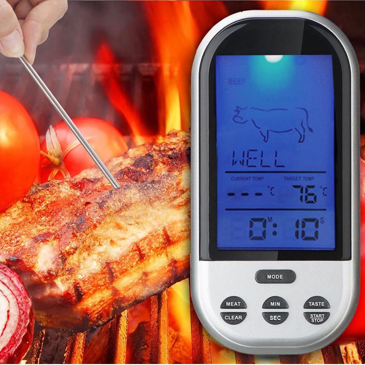 Wireless Remote Control Food Meat Outdoor BBQ Thermometer Home Kitchen Cooking Oven Thermometer