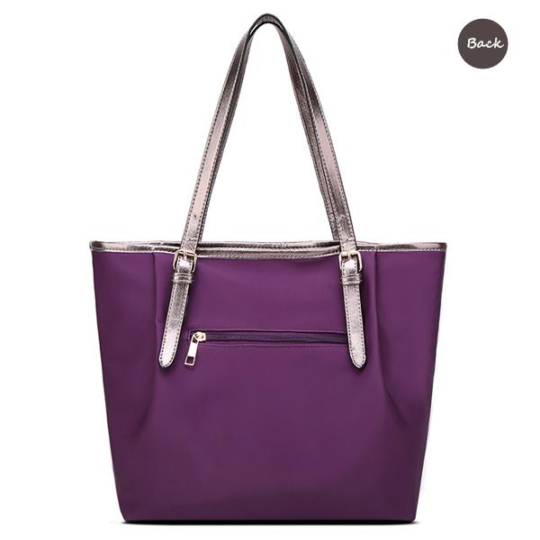 Women Nylon Contrast Color Handbag Large Capacity Casual Shoulder Bag Tote