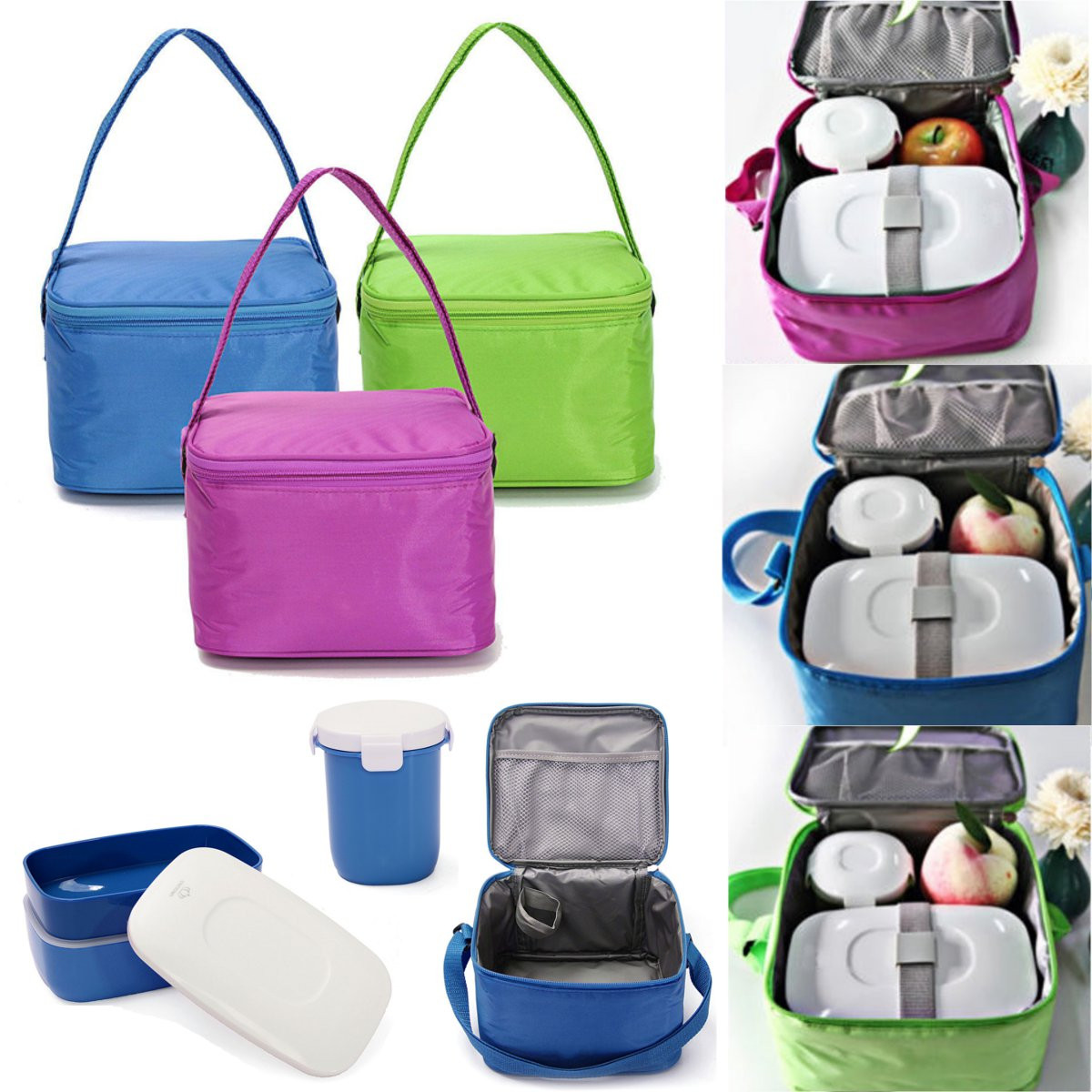 Lunch Box Bento Water Mug Set Camping Picnic Food Container Insulated Tote Carry Bag