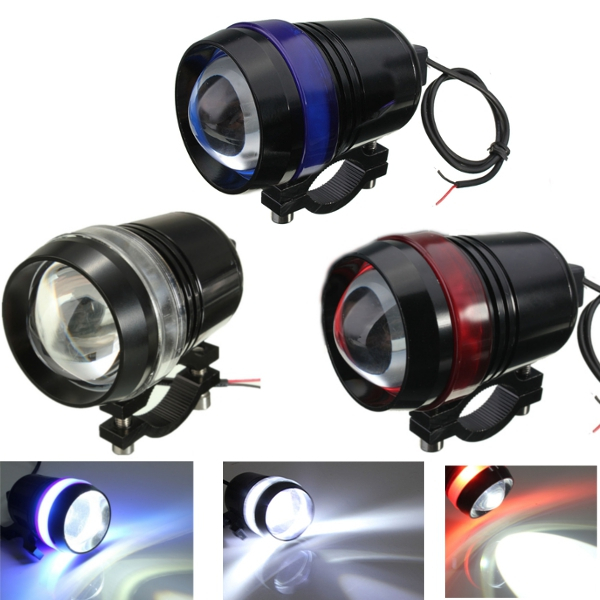 12V 30W Motorcycle U3 LED Angel Eye Driving Fog Spot Headlight Hi/Lo Flash Lamp ownsun cob angel eye rings projector lens with 3000k halogen lamp source black fog lights bumper cover for chevrolet captiva