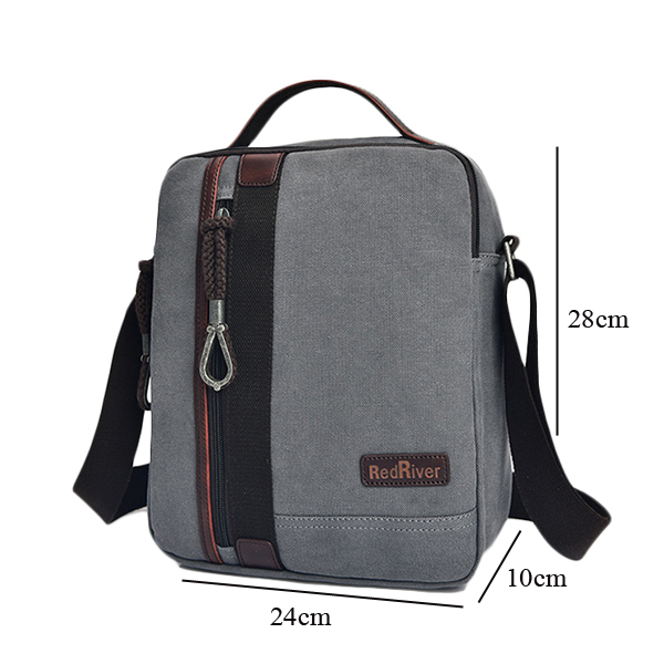 Men Canvas Business Shoulder Bag Casual Canvas Messenger 2 Colors Avaliable