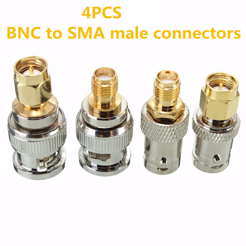 4pcs BNC Male Plug To SMA Female Jack Straight RF Connector Adapter 10 pcs rf coaxial adapter n plug to bnc jack straight