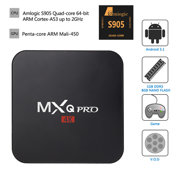 MXQ Pro 4K Ultimate HD KODI Android 5.1 Lollipop Amlogic S905 Quad Core 1GB/8GB 2.0GHz H.265 Hardware Decoding WIFI Miracast DLNA TV Box Android Mini PC hd 4kx2k s905 quad core 2 4ghz wifi