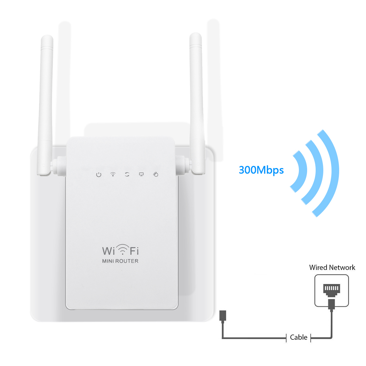300Mbps  802.11 Dual Antennas Wireless Wifi Range Repeater Booster AP Router UK Plug 29