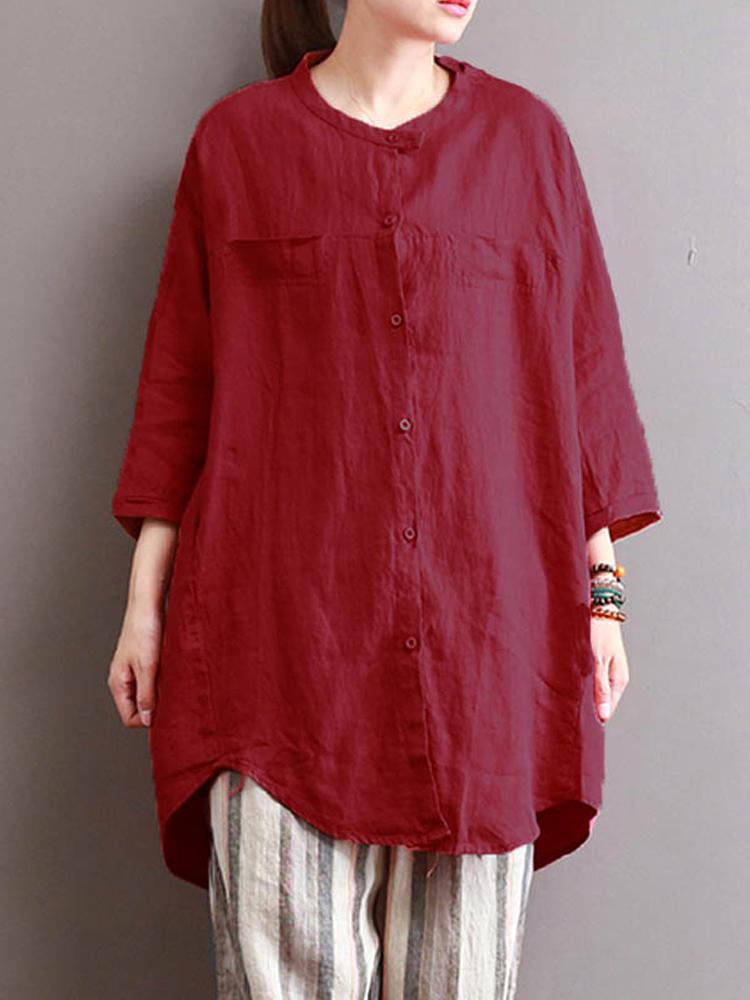 M-5XL Women Buttons Down Pure Color Asymmetric Tops Blouse