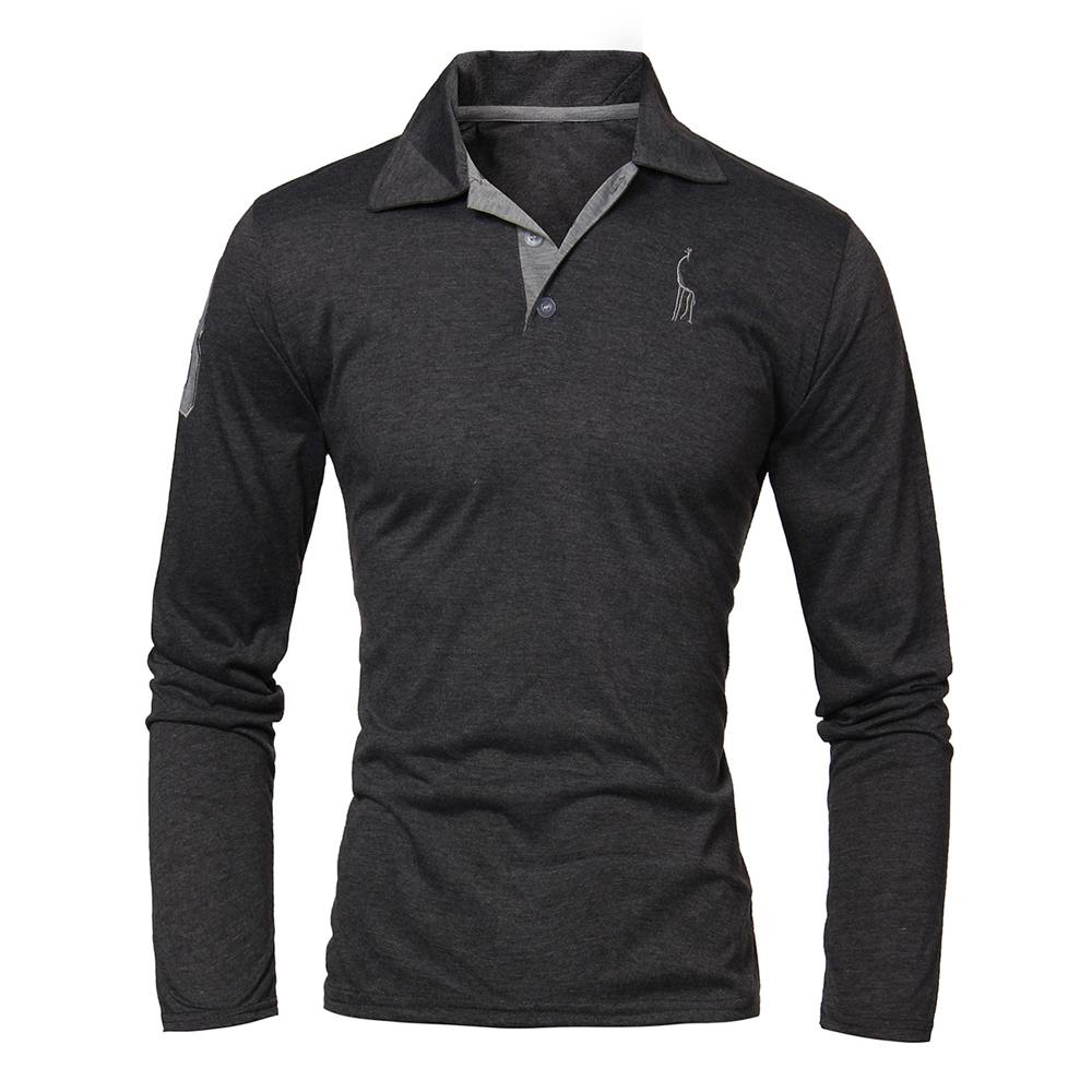 Mens slim deer embroidery lapel long sleeve polo shirt for Mens slim polo shirts