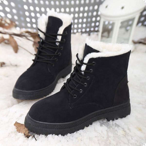 US Size 5-12 Women Winter Keep Warm Flat Plush Snow Boots Ankle Short Boots