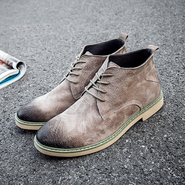 Lace Up Soft Leather British Style Retro Round Toe Casual Boots For Men