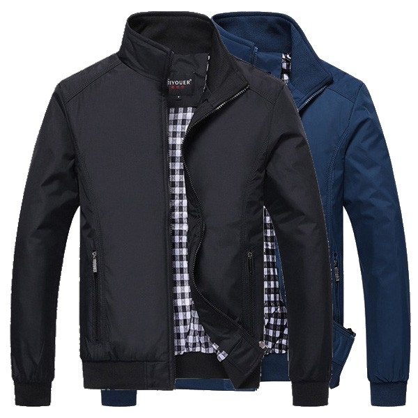 Mens Plus Size Zipper Casual Waterproof Jacket
