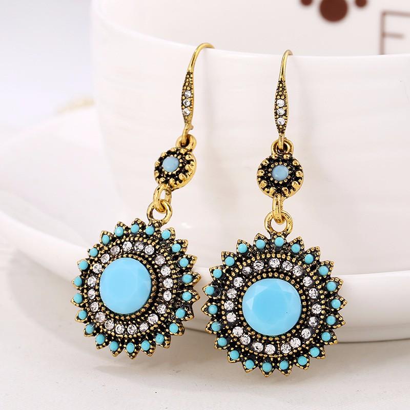 Bohemian Retro Ear Drop Turquoise Rhinestone Gift Earrings