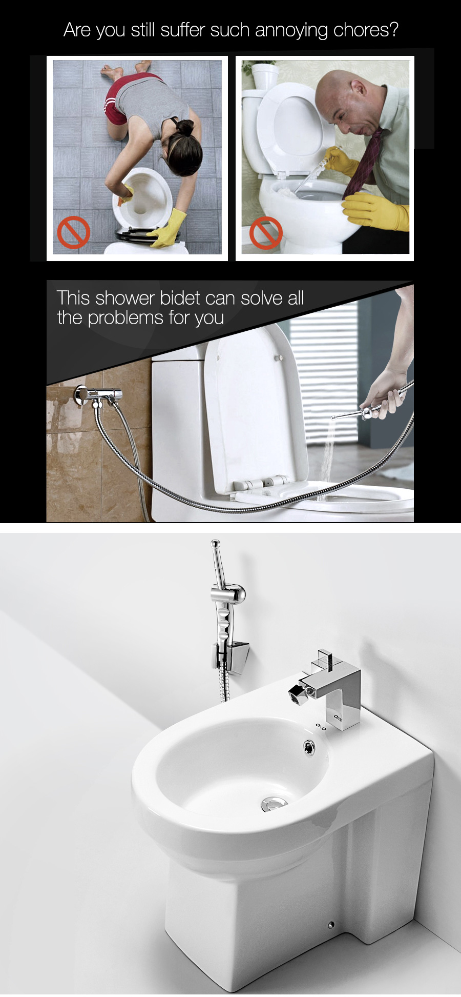kcasa hand held bidet shower toilet sprayer with double control three way angle water valve at. Black Bedroom Furniture Sets. Home Design Ideas