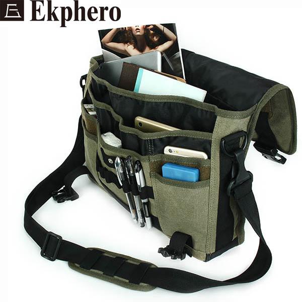 Ekphero Men Canvas Multifunctional Big Capacity Outdoor 17.3 Inch Laptop Crossbody Bag Handbag