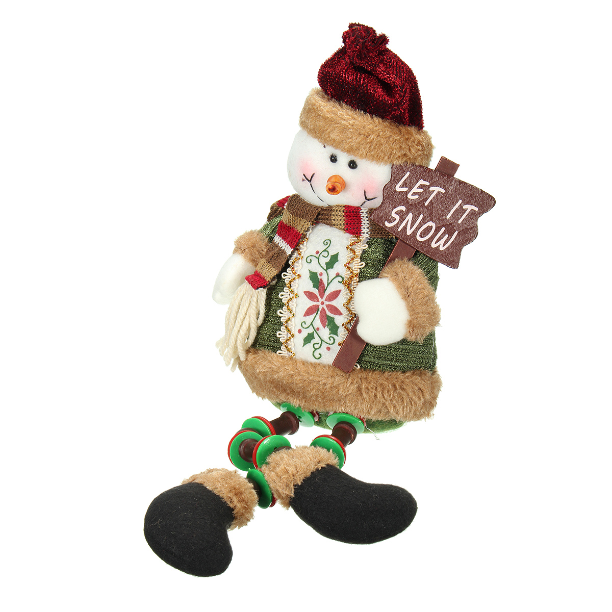 Christmas Home Decoration Sitting Cute Snowman Ornament Flannel Toy Gift - Photo: 1