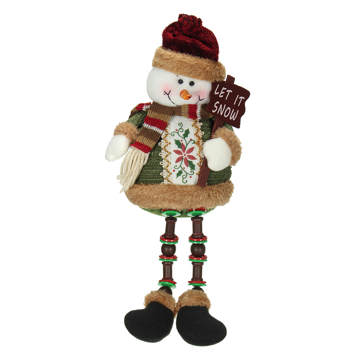 Christmas Home Decoration Sitting Cute Snowman Ornament Flannel Toy Gift - Photo: 2