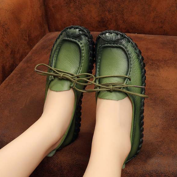 Buy Casual Soft Leather Lace Up Round Toe Retro Comfy Flat Loafers