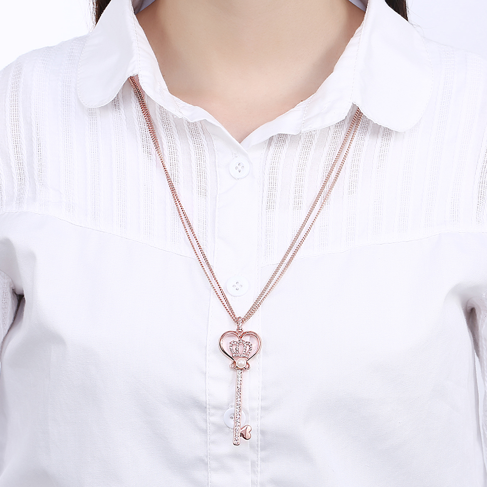 INALIS Rose Gold Plated Rhinestone Artificial Pearl Long Necklace