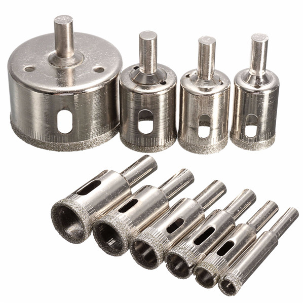10pcs 8-50mm Diamond Drill Bits Set Tool Hole Saw Cutter for Glass Marble Granite