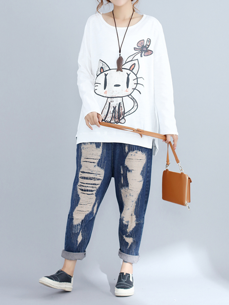 Casual Women Cat Printed O-Neck Long Sleeve Irregular T-shirt