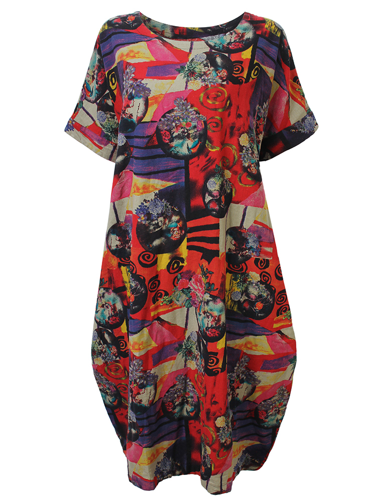 O-NEWE L-5XL Vintage Women Floral Pattern Printed Pocket Dress
