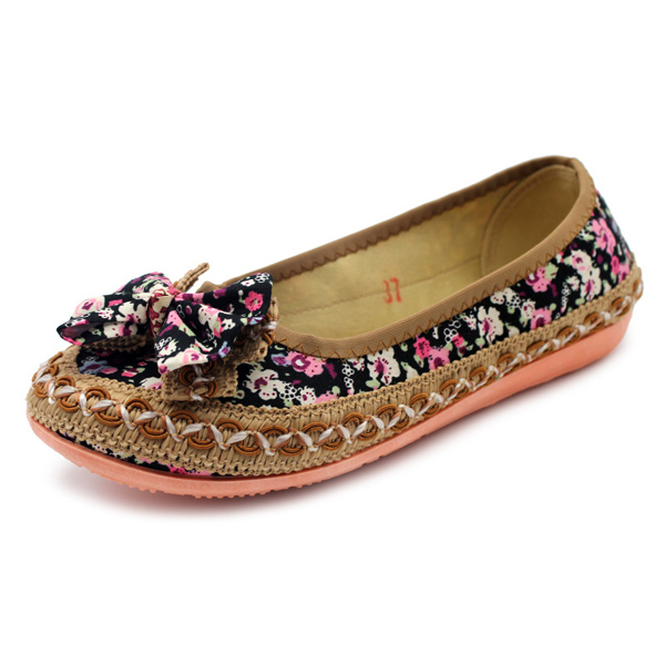 Floral Soft Sole Round Toe Casual Flat Loafers