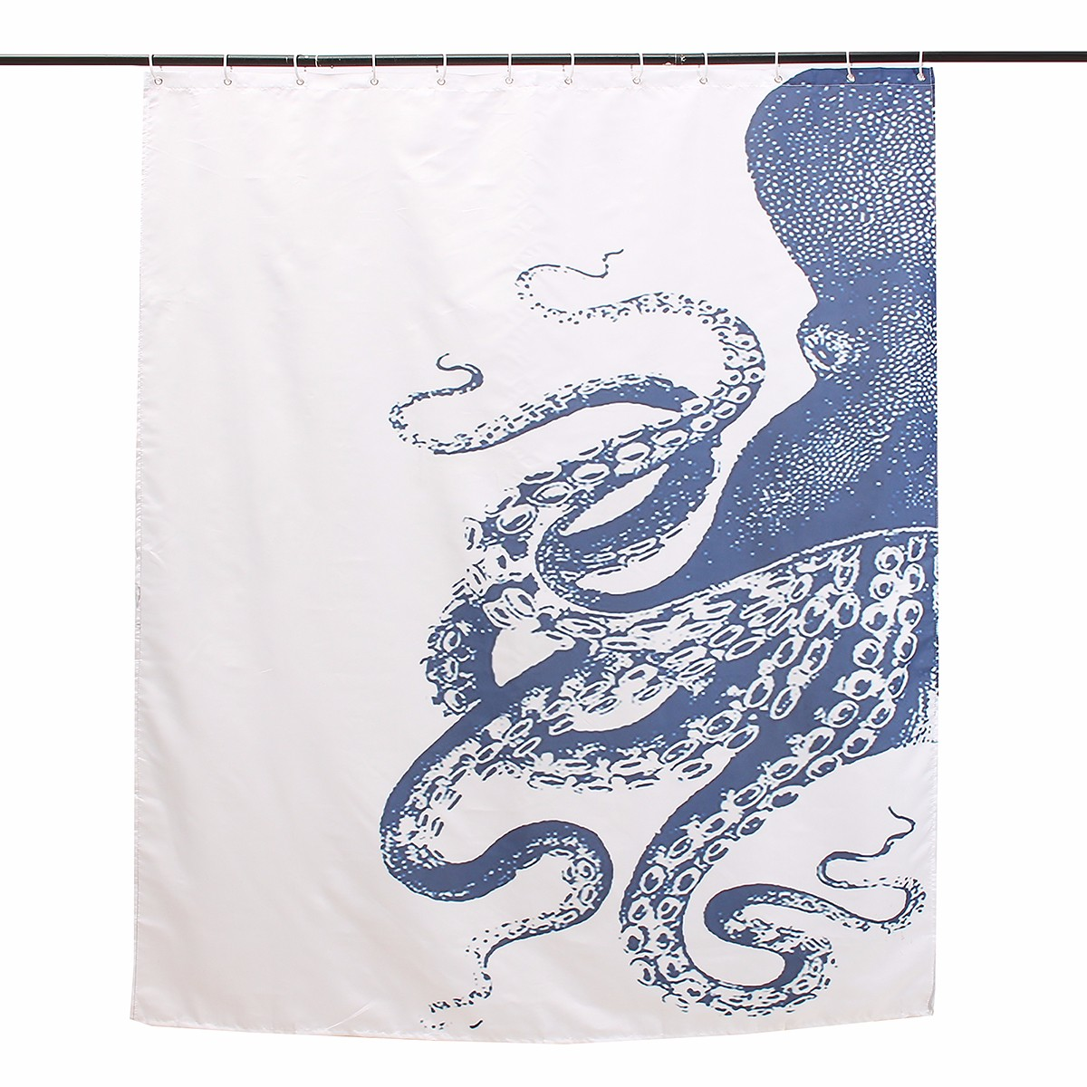150x180cm Waterproof Halloween Octopus Polyester Shower Curtain Bathroom Decor with 12 Hooks