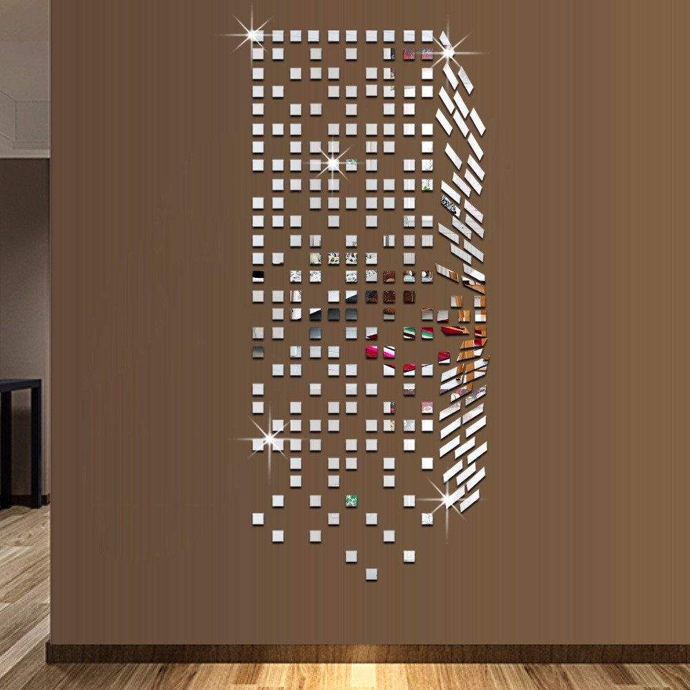 Mirror mosaic background wall stickers home decor diy for Miroir stickers