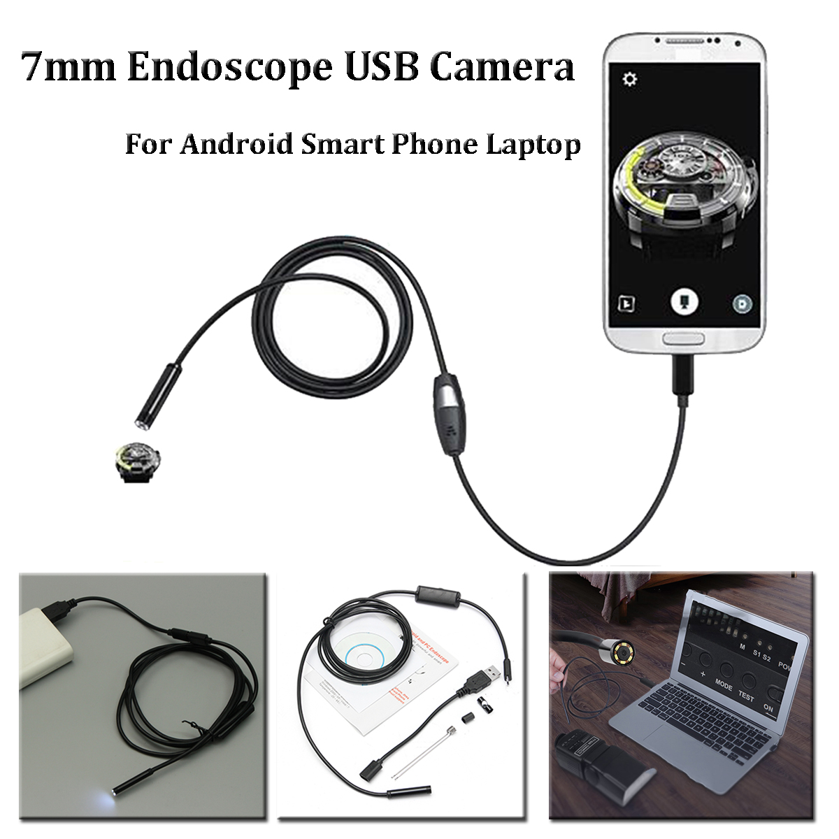 7.5mm Lens 6 LED 2m Micro USB Endoscope Waterproof Inspection Camera for Android OTG Smartphone