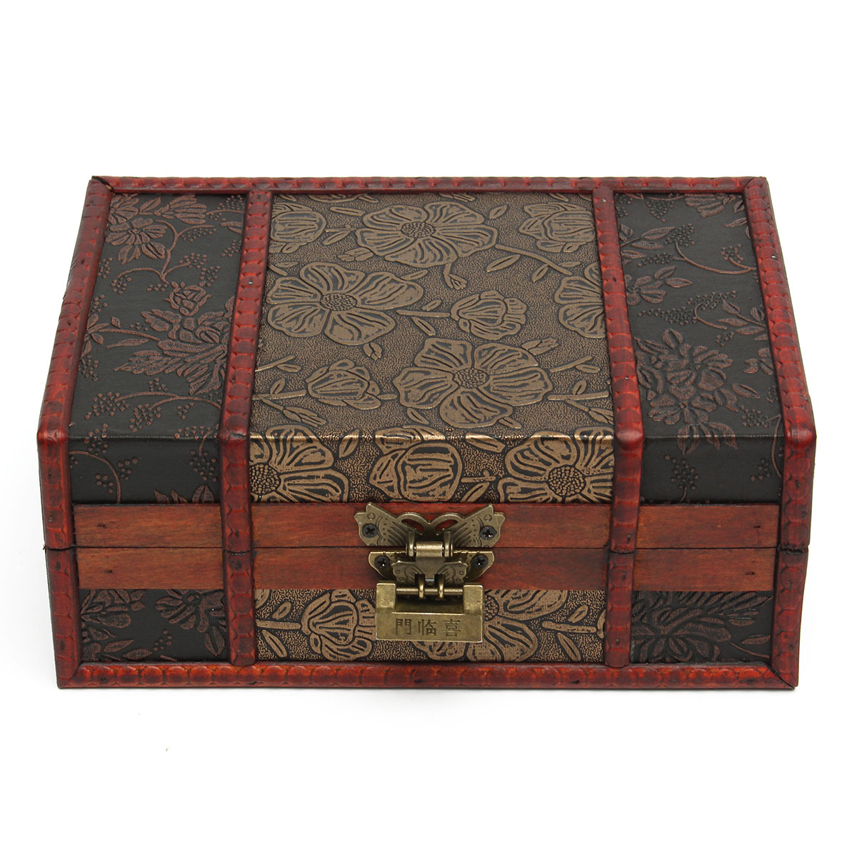 Buy Red Vintage Retro Flower Carved Wooden Jewelry Gift Collect Box Case Holder