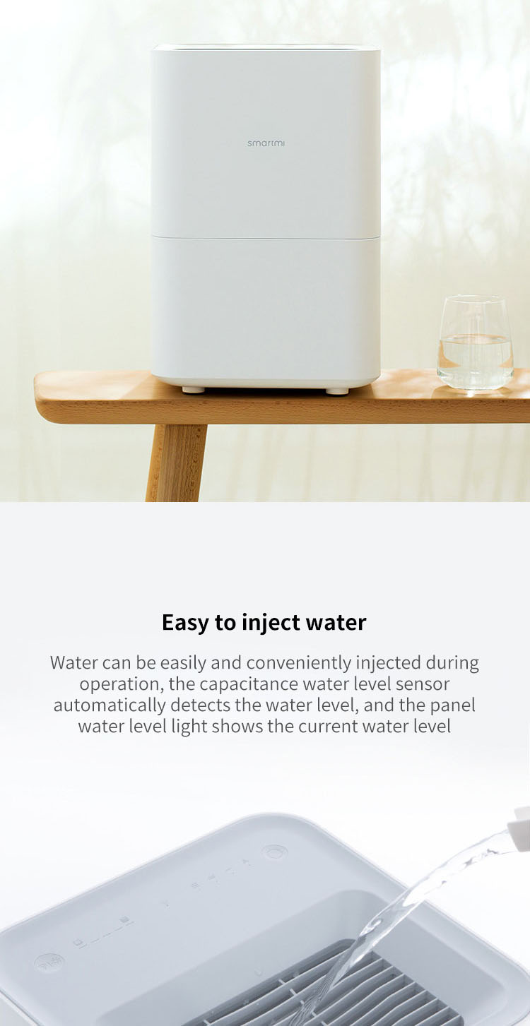 Original Xiaomi Smartmi Humidifier Protable Evaporation Air Humidifier 4L Capacity Data Smartphone Mi home APP Control
