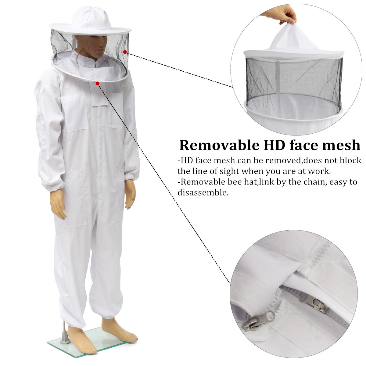 Beekeepers Bee Keeping Cotton Full Protector Suit With Veil Hat Hood Bee Suit XL XXL XXL 34