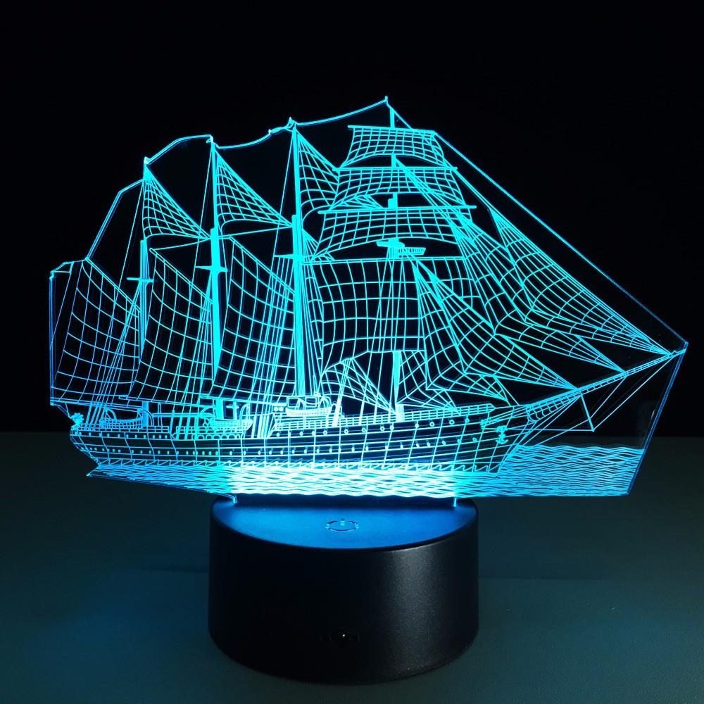 Creative Sailing Boat Usb 3d Led Lights Colorful Touch Night Light Christmas Gift At Banggood