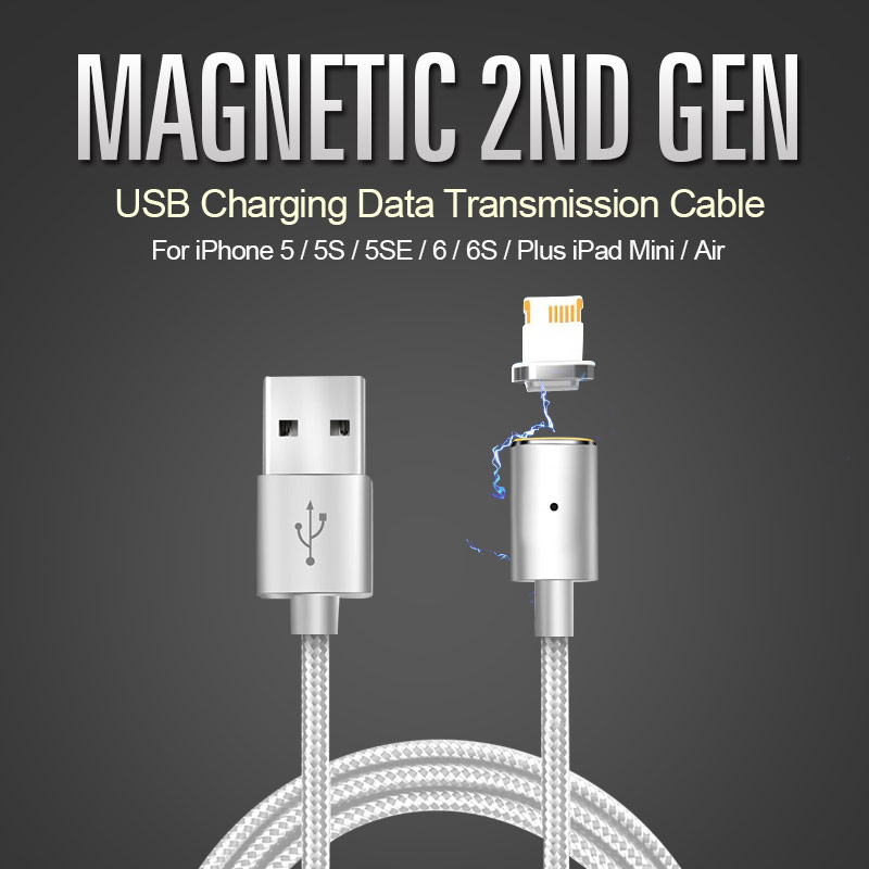 Magnetic 2nd Gen USB Charging Data Transmission Cable For iPhone 5 5S 6 6S Plus Mini Air 2m colorful 8pin high speed usb data sync charging cable for iphone 5 5s 5c 6 6s plus ipad 4 mini air 2 fast charge
