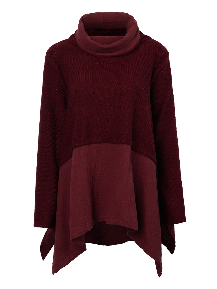 Wine Red Linen Turtleneck Bottom Shirt