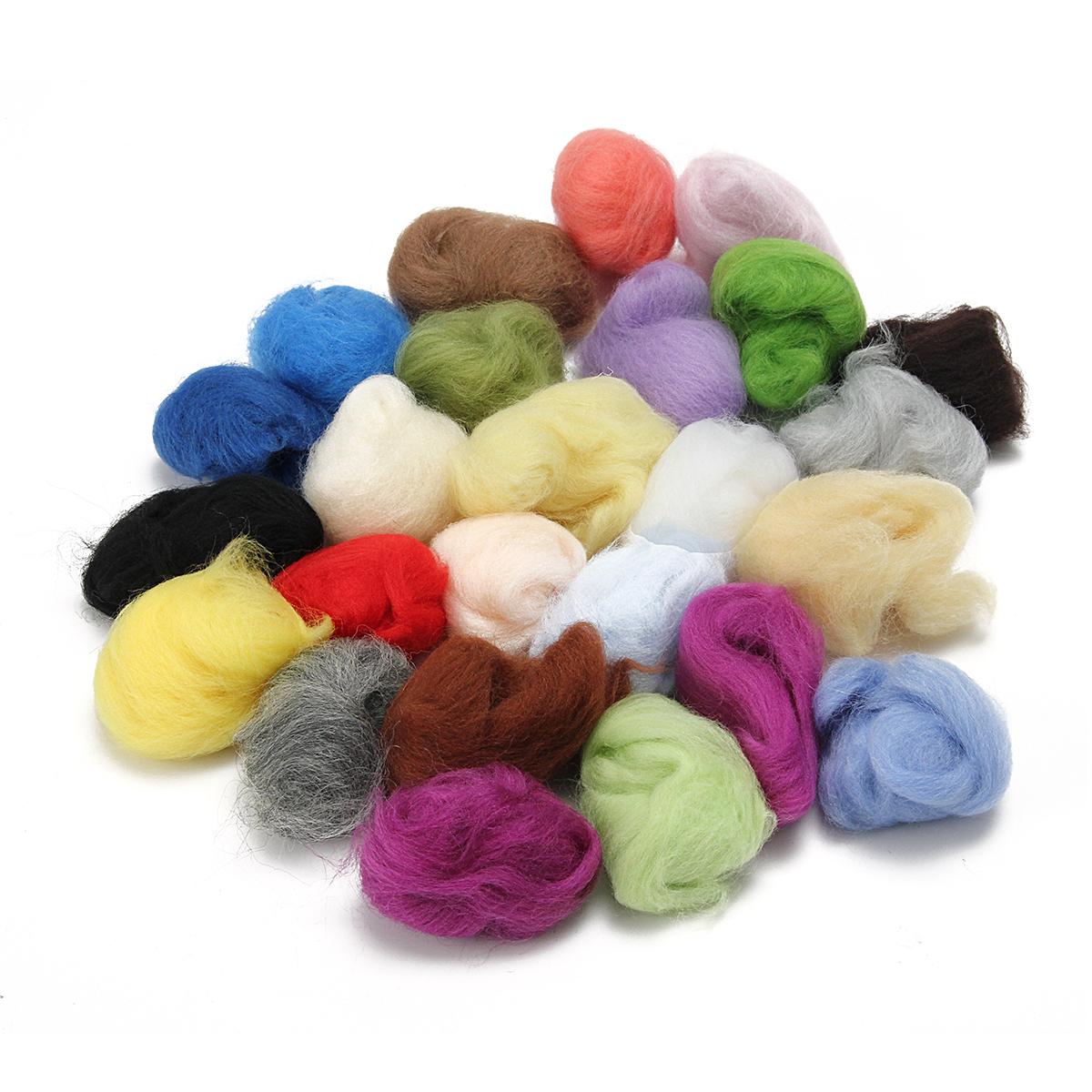 25 Colors Wool Fiber Felting Needle Kits DIY Tools Craft Learner Design Decoration