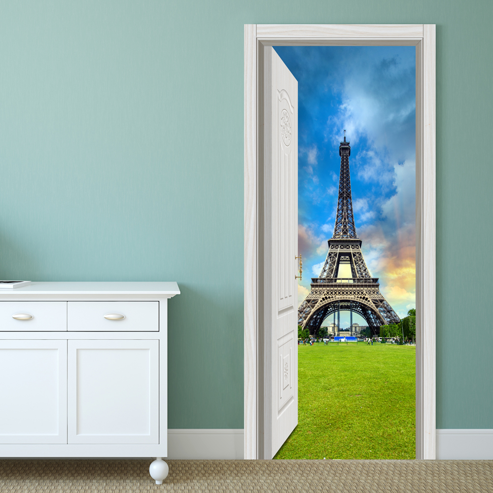 Buy 88X200CM PAG Imitative Door 3D Wall Sticker Ocean Desert Eiffel Tower Ajar Home Decor Gift