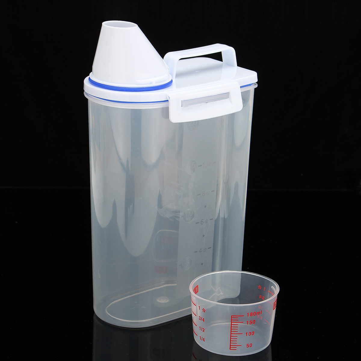 Grain Storage Container With Measuring Cup