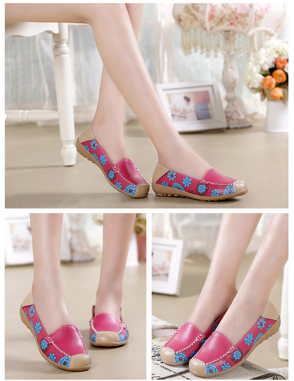 Women Flats Loafers Flower Floral Leather Moccasins Soft Ballet Shoes Round Toe Flats Shoes