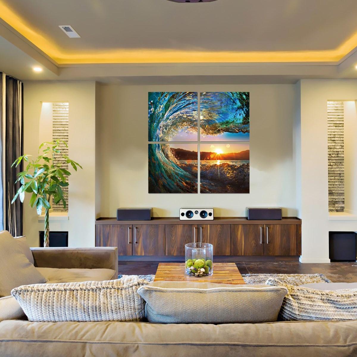 4pcs modern canvas painting ocean wave sunset wall art for Ocean home decor
