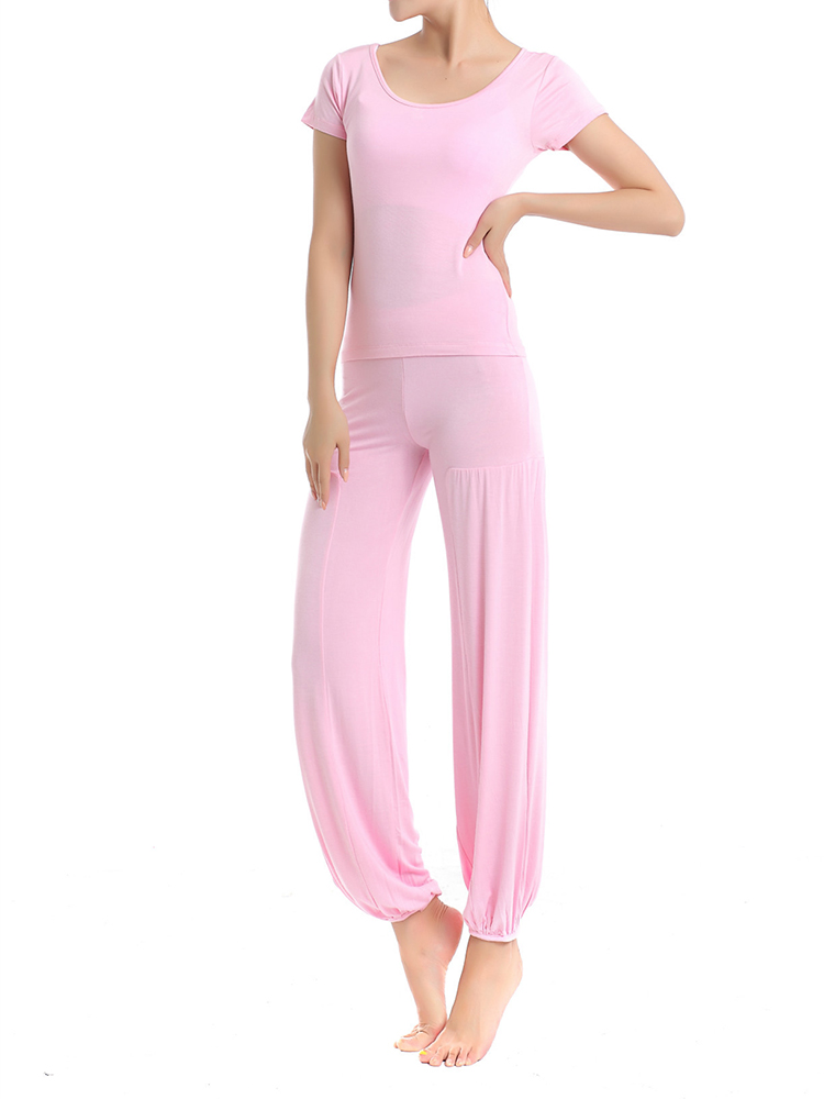 Women Fitness Yoga Sport Athleisure Three-piece Suit Lantern Pants