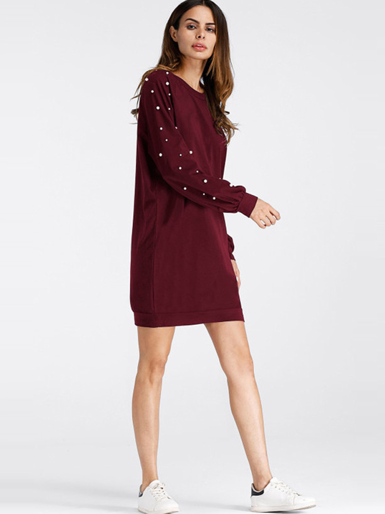 Women Casual Round Neck Pearl Beading Long Sleeve Sweatshirt Dress