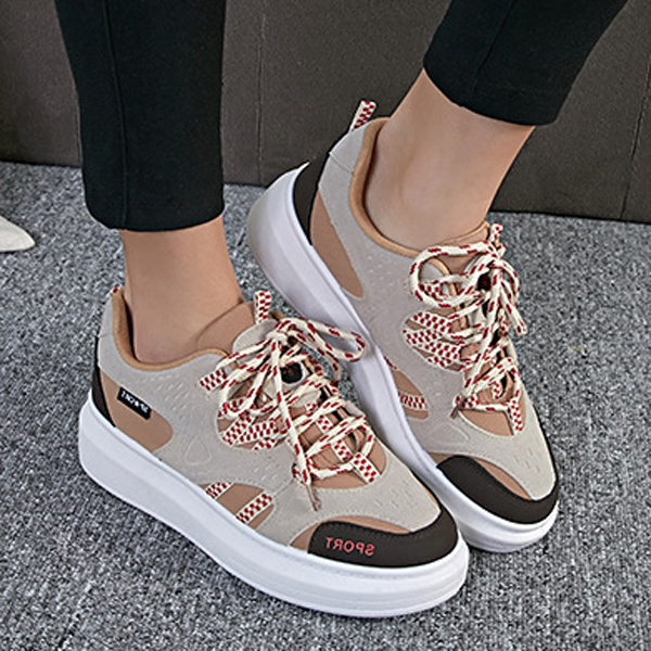 Women Casual Casual Lace Up Shoes Color Match Breathable Sport Shoes
